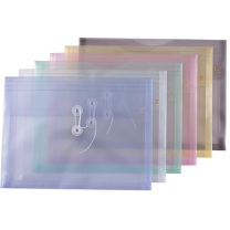 钊盛 透明文件袋 ZS-116A A4 (蓝色、白色、绿色、粉色、黄色) 12个/包 (颜色随机)