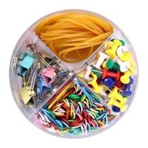 晨光 M&G 4格办公组合套装(含橡皮筋/回形针/长尾夹/工字钉) ASC99360 (彩色) 12套/盒 6盒/箱