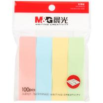 晨光 M&G 优事贴四分条自粘便条纸 YS-13 AS33A40110 76*19mm*4 (黄色、绿色、蓝色、粉红) 100页/条 4条/包