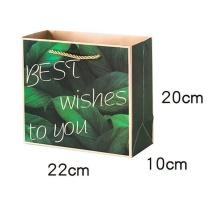 米米默 礼品袋 M大理石祝福纸袋+50cm金丝带 0.5mm (绿色大理石)
