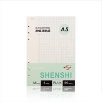 申士 SNSIR 笔记本替芯 J0925-5 本 (白色) A5/25K 90张活页笔记本替芯 适合6孔活页记事本子