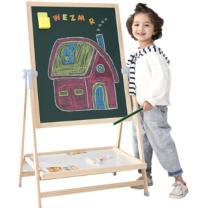 巧之木 QZMTOY 黑白板 1个  实木多功能V3特大号双面磁性升降儿童画板 62*9.8*871CM