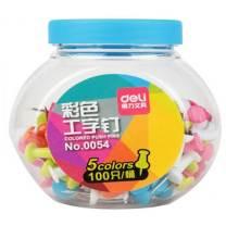 得力 deli 工字钉 0054 100只/桶 (彩色)