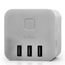 公牛 BULL 插座 GN-U303UW 6孔 无线 白色  USB插座 魔方