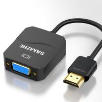 山泽 SAMZHE HDMI转VGA线转换器高清视频转接头 HHV01  适配器笔记本电脑电视盒子连接显示器投影仪线黑