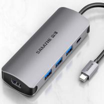 山泽 SAMZHE Type-C扩展坞 TC-K5 USB-C转HDMI转换器 USB3.0集线器 PD充电 华为Mate20苹果MacBook投屏