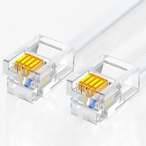 山泽 SAMZHE 纯铜电话线 4芯多股6P4C语音跳线 DH-4003L 成品电话线带水晶头 3米