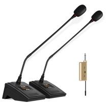 先科 SAST 台式会议话筒 OK-32A 鹅颈无线会议一拖二麦克风 大型活动会议演讲专业鹅颈式可调频电容话筒 黑色