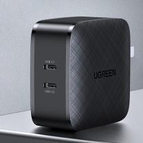 绿联 UGREEN 电源适配器 80342 65W 20W  USB-C 双口PD快充头