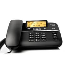 集怡嘉 录音电话机/办公座机可连电脑/中文输入黑名单自动报号/客服电话机家用固定电话 DA760A (钢琴黑)