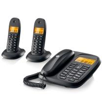 摩托罗拉 MOTOROLA 数字无绳电话机座机子母机 CL102C (黑色) 中文显示免提套装办公家用一拖二固定无线座机