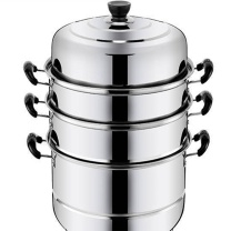 国产不锈钢蒸锅 6cm (银色) 二层复底