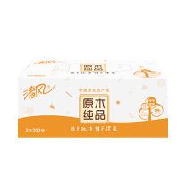 清风 Breeze 原木纯品盒装面巾纸双层 B338CN/C1/C2/C3  200抽/盒 3盒/提 12提/箱 (新老包装交替以实物为准)