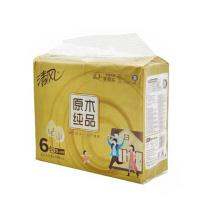 清风 Breeze 抽纸 BR65SJ1 206*136mm (白色) 原木纯品金装3层130抽6包/提 (单位:提)
