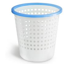 得力 deli 圆形压圈垃圾桶 9554 φ28cm (白蓝色) 30个/箱