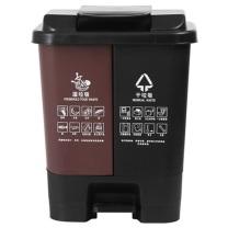 邦洁 塑料可分类拼色脚踏垃圾桶 290*270*400mm 20L (棕色+黑色) 4个/箱 湿垃圾+干垃圾 双桶