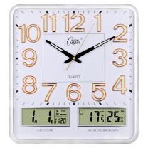 康巴丝 COMPAS 挂钟万年历温湿度钟表创意客厅静音时钟简约挂表方形日历石英钟 C2983Y 16英寸 (夜光闪银)
