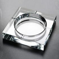 威尔 玻璃烟灰缸大号透明 方形烟灰缸 20CM