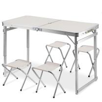 利尔 折叠桌 1.2*0.6cm (白色) 户外桌子颜色随机 加4凳