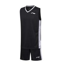 李宁 LI-NING 篮球比赛服套装 AATM003-2 S-5XL码 (黑色)