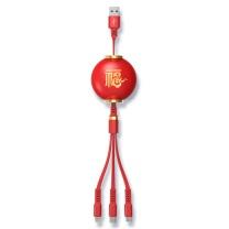 乐默 红灯笼伸缩一拖三充电线 LCB-155 产品尺寸:120cm  1000条起订