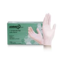 爱马斯 AMMEX 一次性乳胶无粉手套 TLFC44100 M  100只/盒 (新老包装交替发货)
