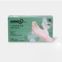 爱马斯 AMMEX 一次性乳胶无粉手套 TLFC44100 M  100只/盒 下单前请联系采购