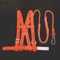 百舸 防坠落安全绳 安全带工地施工安全绳电工防护 单钩双背带式2m*100KG  1副