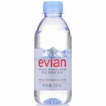 依云 evian 天然矿泉水 330ml/瓶  24瓶/箱 (原装进口 白色外箱)
