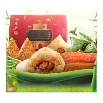陶陶居 酒家合家欢粽子礼盒(10盒起订)  1050g(猪肉裹蒸棕200g、干贝裹蒸棕200g、视水糯米棕112.5g*4、家乡咸肉粽200g)