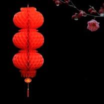 壹圈圈 连串蜂窝红灯笼 25#3连串 直径20cm (红色)