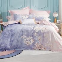 罗莱 LUOLAI 全棉斜纹纯棉床单被套 晨暮间 220*250cm (粉紫色) 四件套床品套件床上家纺全棉 1.8米床