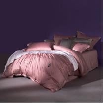 罗莱 LUOLAI 双人床上用品纯棉套件床单被套枕套 小西几 220x250cm (粉色) 四件套全棉长绒棉纯色简约时尚