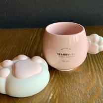 星巴克 2020年新款樱花猫爪猫尾造型款马克杯 粉萌猫爪款 170ml  起订量100个