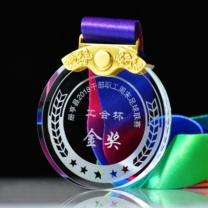 万事达 水晶奖杯定制 7cm  企业纪念品比赛活动圆形奖牌