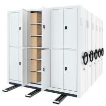 臻远 密集架手摇式移动档案柜文件资料架钢制轨道密集架一列4组 MJJS-4 H2360*W4500*D560 (白色)