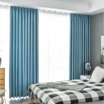 臻远 混合纤维遮光窗帘 ZY-KLP-529 W1000*D1000 (浅蓝色) 0.8kg 含罗马杆