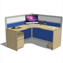顺发 SF 定制L型单人屏风位 W1400*D1400*H750/屏高:1.3M  含键盘架、主机托和推柜