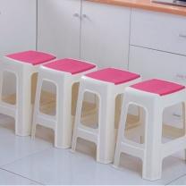 好尔 凳子 餐桌凳 家用高凳子 塑料防滑凳子加大号红色1个装