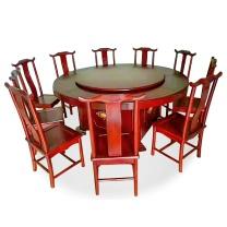 红心家居 餐桌椅组合(1.5米餐桌+10把餐椅) CZ01 W1500*D1500*H760