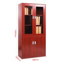 中伟 转印文件柜办公柜钢制铁皮柜资料柜档案柜储物柜拆装薄边柜仿木纹红色大器械加厚款  DC