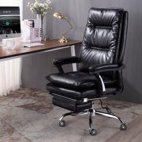 中伟 老板椅经理椅办公电脑椅人体工学转椅黑色带搁脚  DC