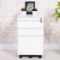 中伟 活动柜钢制桌下柜挂劳柜三抽柜文件柜资料柜白色款  DC