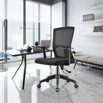 奈高 电脑椅办公椅升降椅转椅职员办公椅人体工学(黑色)  DC
