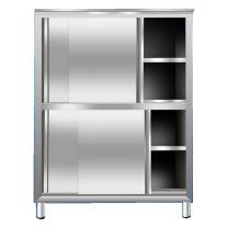 臻远 201不锈钢平移推拉碗柜厨房四门立柜保洁柜 ZY-BJG-2 W1160*D500*H1800 (不锈钢色) 全国含运,除偏远地区。
