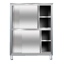 臻远 201不锈钢平移推拉碗柜厨房四门立柜保洁柜 ZY-BJG-4 W1800*D500*H1800 (不锈钢色) 全国含运,除偏远地区。