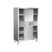 臻远 201不锈钢平移带抽碗柜厨房四门立柜保洁柜 ZY-BJG-9 W1500*D500*H1800 (不锈钢色) 全国含运,除偏远地区。