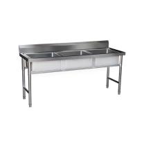 臻远 不锈钢带支架三池洗碗池 ZY-SCA-13 W1450*D600*H800 (不锈钢色) 全国含运,除偏远地区。