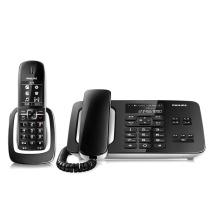飞利浦 PHILIPS 语音报号黑名单中文数字子母机一拖一家用办公会议坐固定固话无线电话机座机 DCTG492 (黑色)