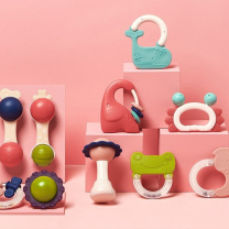 babycare婴幼儿手摇铃玩具儿童玩具宝宝 0-1岁新生儿宝宝安抚牙胶玩具趣味牙胶摇铃(箱装)7220